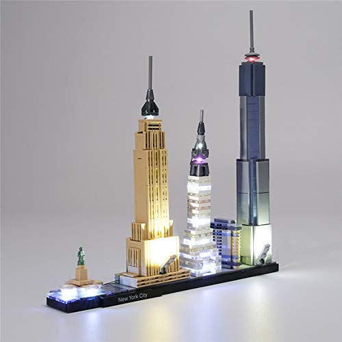 QJXF Juego De Luces USB Compatible con Lego City Arquitectura Nueva York 21028, LED Light Kit para (New York City) Modelo De Elementos Fundamentales (No Incluido Modelo)